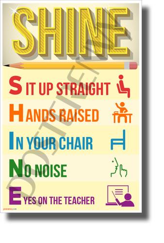 SHINE - NEW Classroom Motivational Acronym Behavior POSTER