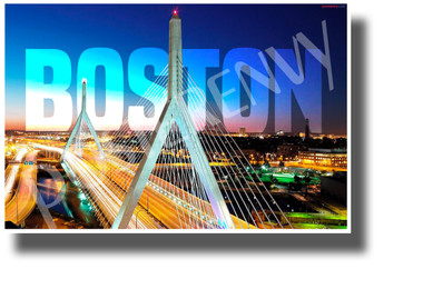 Zakim Bridge - Boston, Massachusetts - NEW U.S State City Travel Poster (tr596)