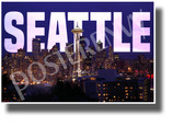 Seattle, Washington - Space Needle - NEW U.S State City Travel Poster