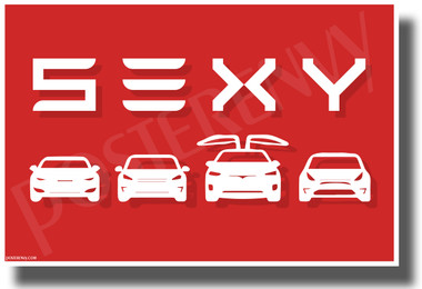 Tesla - SEXY - Red & White - NEW Humorous Electric Car POSTER
