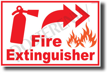 Fire Extinguisher Right - NEW Laboratory or Classroom Fire Safety POSTER