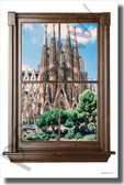 Spain Skyline - Window View - NEW World Travel Poster