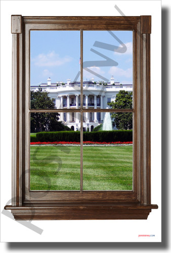 The White House - Window View - NEW World USA Travel Poster (tr612)
