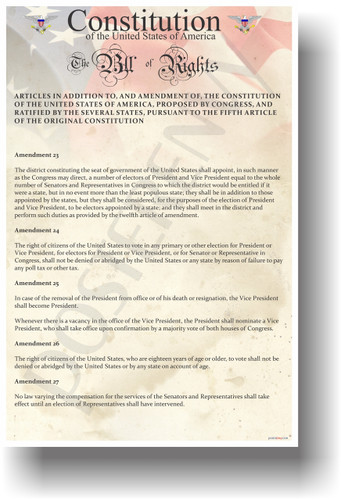 The U.S. Constitution - The Bill of Rights Amendments 23-27 - US History Government Classroom School Poster (ss185)