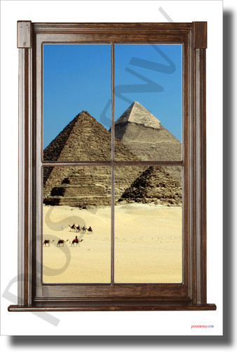 Great Pyramids of Giza - Window View - NEW World Travel Poster (tr613)