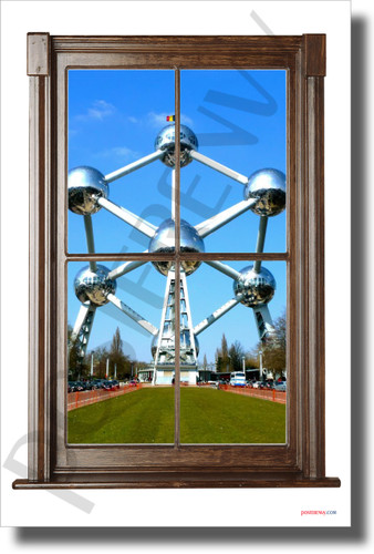 Atomium in Belgium - Window View - NEW World Travel Poster (tr616)