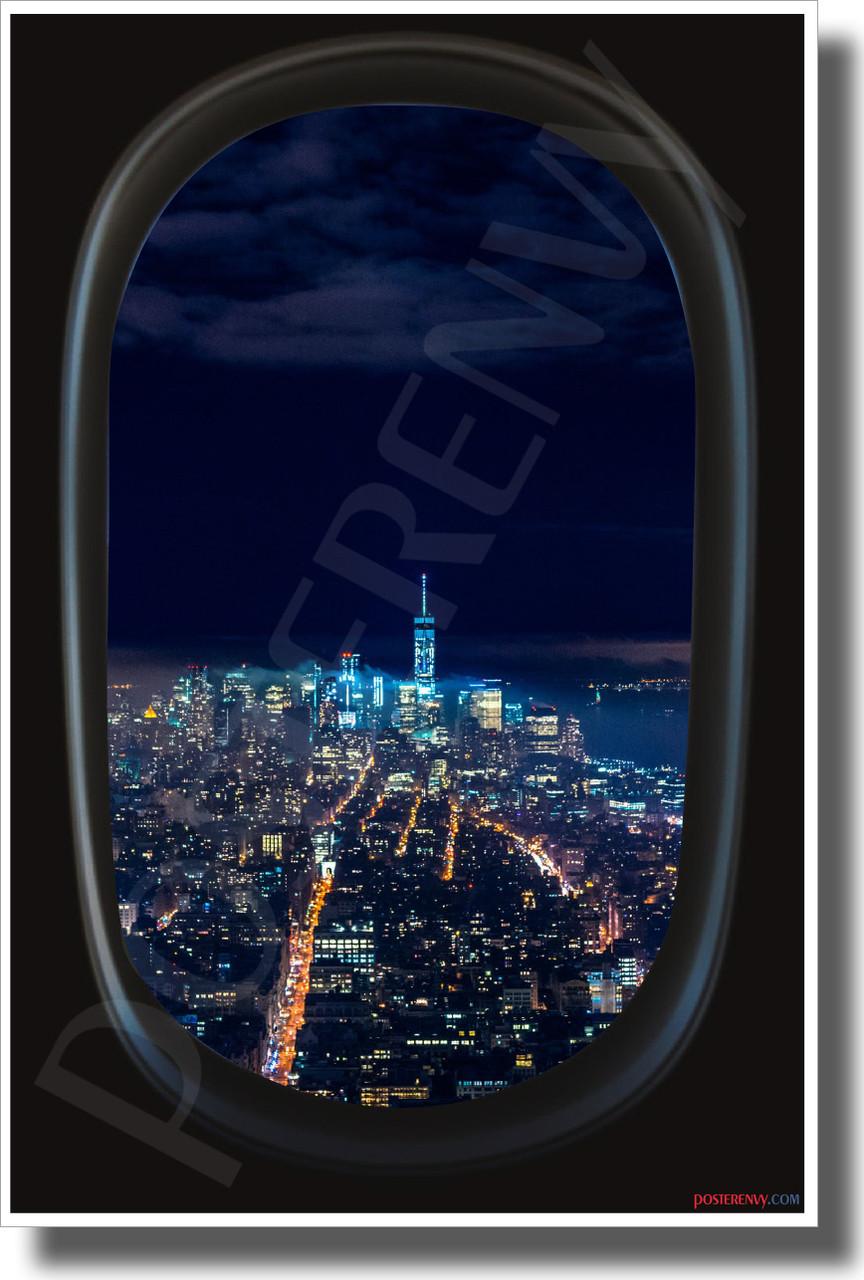 New York City Airplane Window View New World Usa Travel Poster