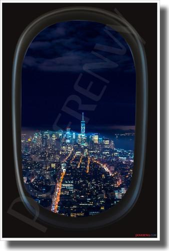 New York City - Airplane Window View - NEW World USA Travel Poster