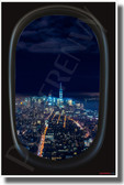 New York City - Airplane Window View - NEW World USA Travel Poster