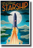 Journey to Space on the Legendary Starship - NEW Humor Novelty Vintage Style POSTER