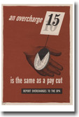 An Overcharge Is The Same As A Pay Cut - Vintage WW2 Poster