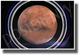 Mars in Spaceship Window - NEW Classroom Science Poster (ms343)