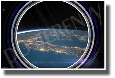 Earth Horizon in Spaceship Window - NEW Classroom Science Poster