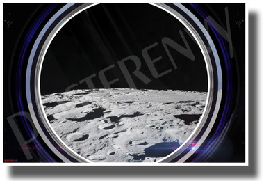Moon Horizon in Spaceship Window - NEW Classroom Science Poster (ms346)