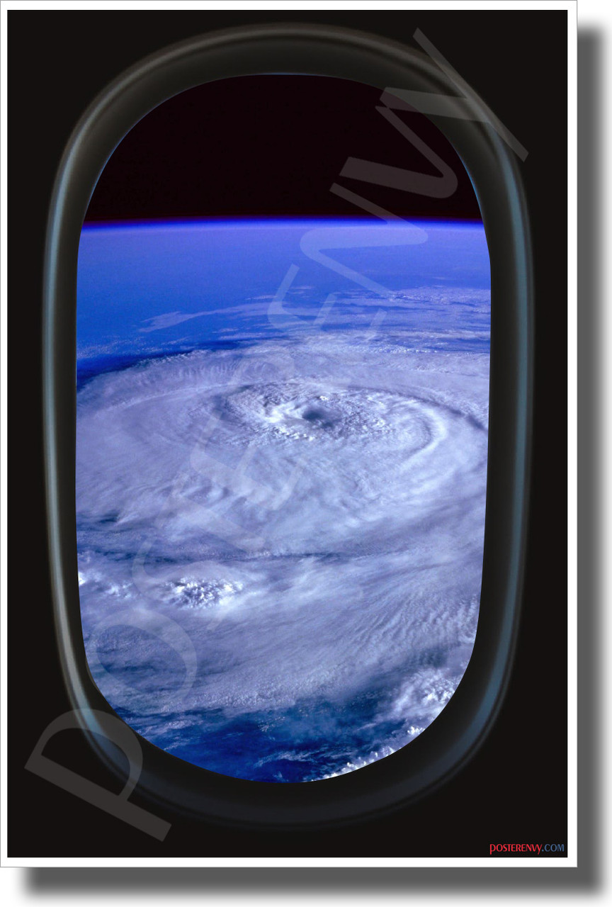 Hurricane - Airplane Window View - NEW World Travel Poster