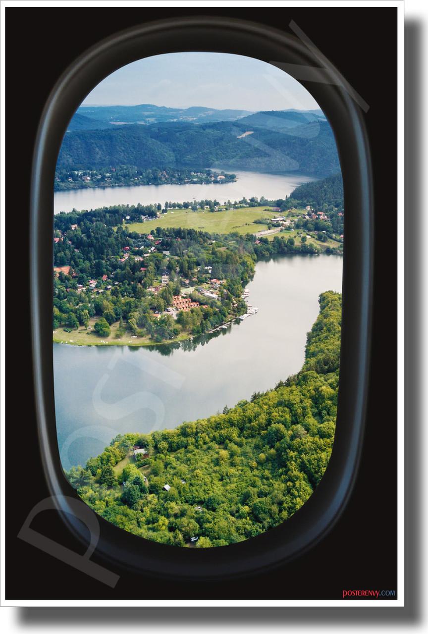 Wine Vineyard Airplane Window View New World Travel Poster