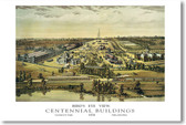 Philadelphia Centennial Buildings 1876 - Vintage Poster