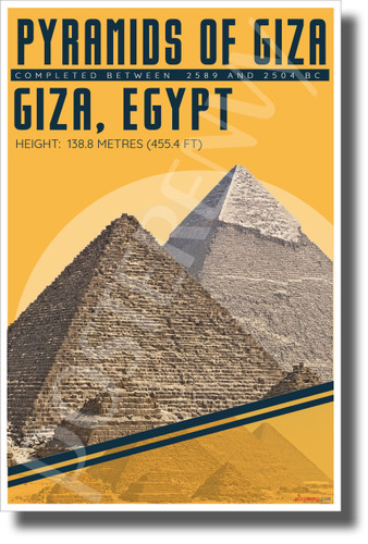 Great Pyramids of Giza - Infographic - NEW World Travel Poster