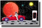 Starman Charging the Roadster on an Asteroid - NEW Humor Novelty POSTER