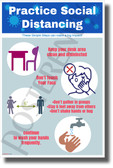 Practice Social Distancing at School - New Educational Health Public Safety Prevention Poster