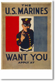The U.S. Marines Want You - Vintage Recruiting Poster
