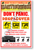 Earthquake Safety Awareness - NEW Educational Health Public Safety Prevention POSTER