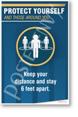 Keep Your Distance and Stay 6 Feet Apart - NEW Health Public Safety Prevention POSTER