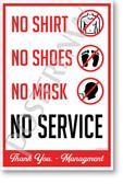 No Shirt, No Shoes, NO MASK, No Service version 2 - New Public Safety POSTER