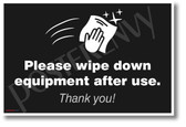 Please Wipe Down Equipment After Use - New Public Safety POSTER