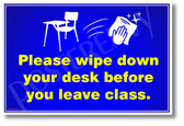 Please Wipe Down Desk After Use - New Public Safety POSTER