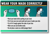 WEAR YOUR MASK CORRECTLY - NEW Public Health Safety POSTER