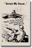 United We Stand - 2 Foxholes Defending America - Vintage Reproduction Poster