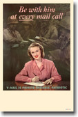 Be with him at every mail call - V-mail - Vintage WW2 Reproduction Poster