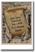 1946 Resolution - Buy US Savings Bonds - Vintage WW2 Reproduction Poster