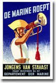 De Marine Roept - Vintage WW2 Reproduction Poster