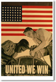 United We Win - Vintage WW2 Reproduction Poster