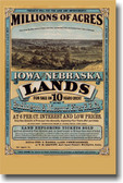 Millions of Acres Iowa & Nebraska Vintage Reprint Westward Expansion Poster American History (vi108)