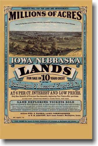 Millions of Acres Iowa & Nebraska Vintage Reprint Westward Expansion Poster American History (vi108)