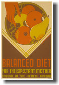 Balanced Diet for the Expectant Mother - NEW Vintage Reproduction Poster