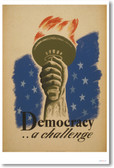 Democracy .. a Challenge - NEW Vintage WPA Poster