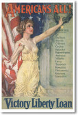 Americans All - Victory Liberty Loan - NEW Vintage WW1 Poster