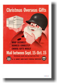 Santa Claus in an army helmet shipping package for Christmas - Vintage WW2 Poster