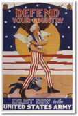 Defend Your Country - Enlist Now in the US Army - NEW Vintage WW2 Poster