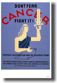 Don't Fear CANCER Fight It! - NEW Vintage Health Poster