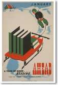 January - A Year of Good Reading Ahead - NEW Vintage Poster