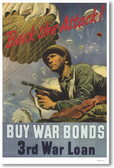 Back the Attack - Buy War Bonds - 3rd War Loan - NEW Vintage WW2 Poster