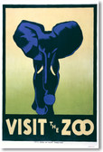 Visit The Zoo - Blue Elephant WPA - New Classic Vintage Art Print Poster (vi028)