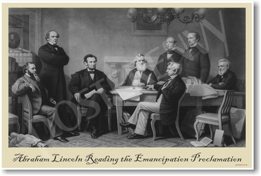 President Abraham Lincoln Reading Emancipation Proclamation - NEW American History Poster (vi023)