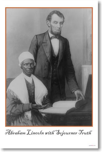 President Abraham Lincoln with Sojourner Truth - New Vintage Poster (vi021)