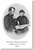President Abraham Lincoln reading to his son Tad - 1864 - New Vintage Poster (vi022)